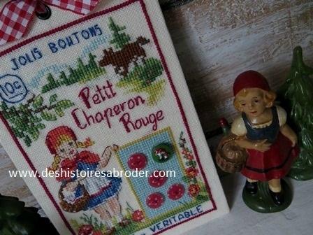"""Des Histoires à broder - Planche boutons """"Le petit chaperon rouge"""" (roodkapje) (patroon)"""
