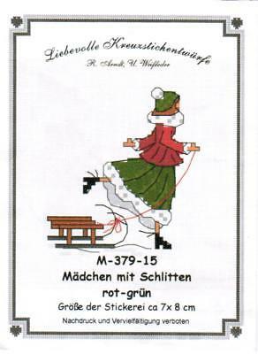 Liebevolle Kreuzstichentwürfe - M-379-15 - Mädchen mit Schlitten (rouge/vert)