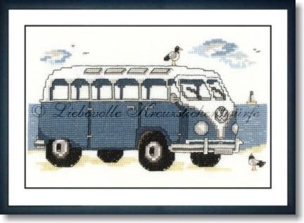 Liebevolle Kreuzstichentwürfe B-245-15 Bus am Strand