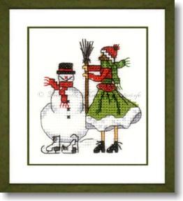 Liebevolle Kreuzstichentwürfe - M-378-15 - Mädchen mit Schneemann (rouge/vert)