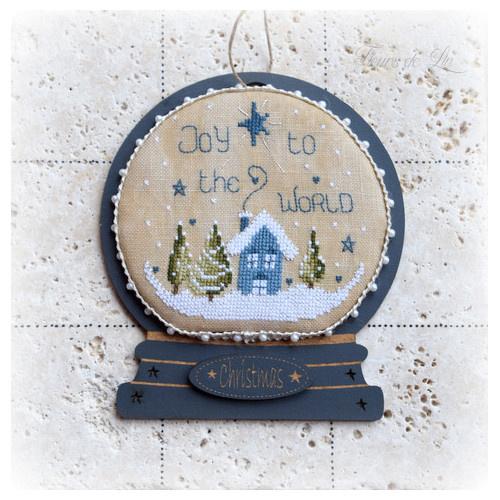 Fleurs de lin - Boule à neige - Joy to the world (patroon)