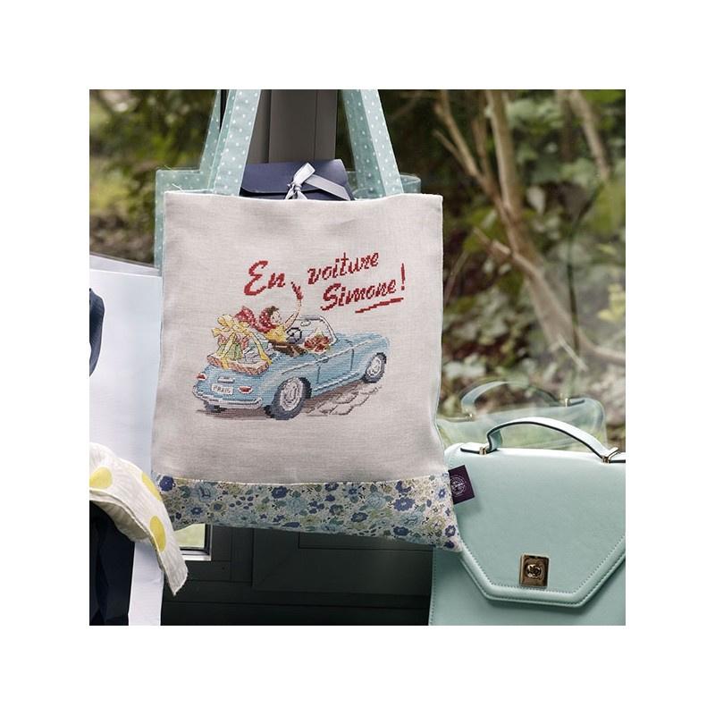 """Les Brodeuses Parisiennes - Tote Bag - En voiture Simone"""" (aïda)"""