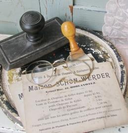Oude kaartje van een hoedemaker  VERKOCHT