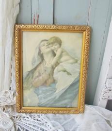 Schilderijtje maria met kind  VERKOCHT