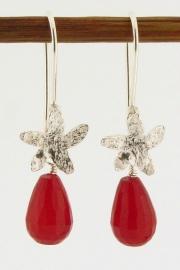 ___252057___ Zilveren oorbel bloem rood jade