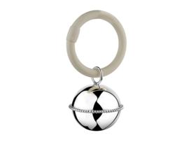 Zilveren rammelaar bal aan ring parelrand