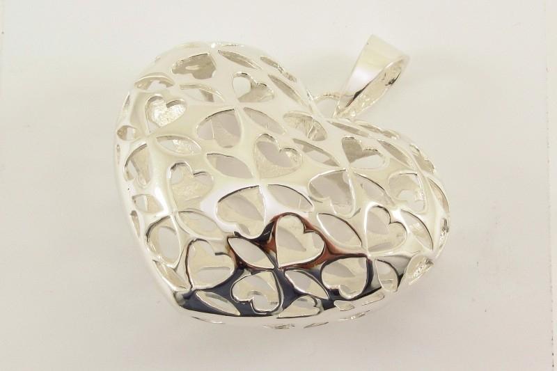 ___241068 ___ Zilveren hanger groot hart ajour