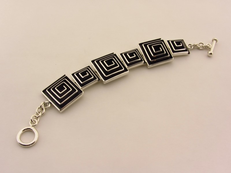 ___210698___ Zilveren armband meander geoxideerd
