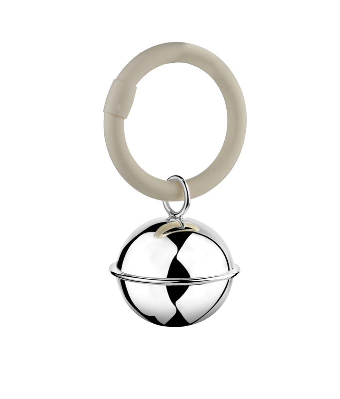 Zilveren rammelaar bal aan ring filetrand