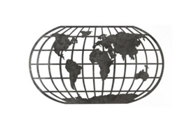 World Map metal dark grey 78 x 45