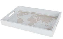 "Tray ""Map of the World"" wood 35x24x4cm - Natural/White"
