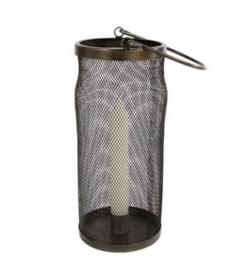 Windlicht met kaarsenhouder L zwart metaal 10x10x23 cm