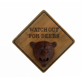 """Flesopener """"Watch out for Beers"""" hout 15x15x9cm"""