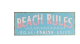 Beach rules bord metaal
