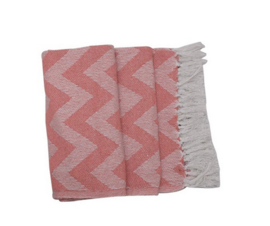 Recycled cotton plaid 125x150cm - Pink/White