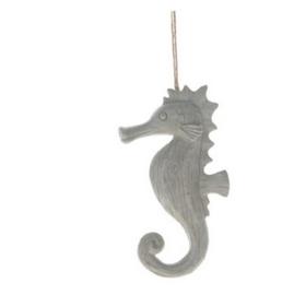 Polyresin seahorse hanger 12.5x4x23cm - Light grey