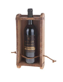 Vintage Wine bottle holder cement box (without bottle)