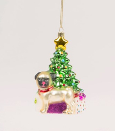 Pug Under The Christmas Tree Shaped Bauble