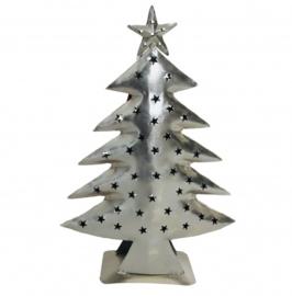 Kerstboom waxinelichthouder nikkel