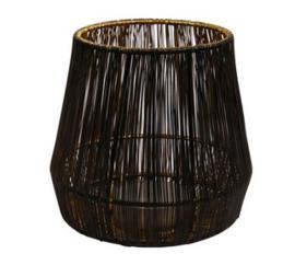 Draadlantaarn M zwart/goud 15x15x15cm