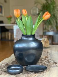 Vase black ceramic  22 x 11 x 23
