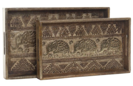 TRAY SET 2 MANGO 43X27X8 ELEPHANTS CARVED BROWN