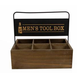 """Krat """"men's tool box"""" hout 26x18,5x24cm"""