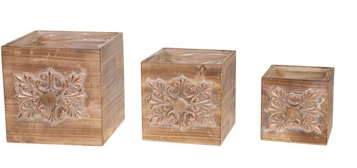 Drawer planter wood set 3 stuks: 18, 15 en 12 cm