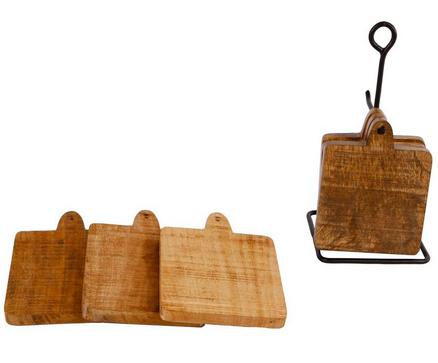 Onderzetters hout op metalen houder 6 st
