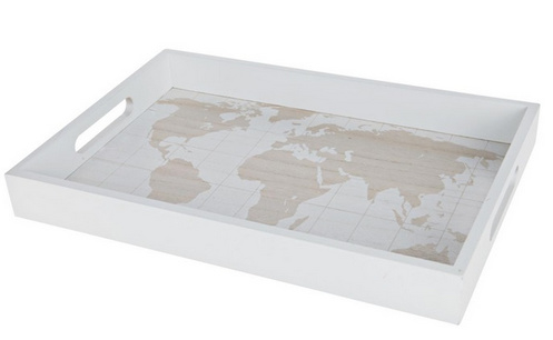 """Tray """"Map of the World"""" wood 35x24x4cm - Natural/White"""