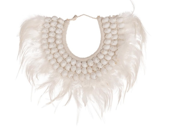 Deco Necklace shells & feathers