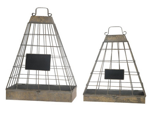 Lantaarn set 2 stuks 39x17x54cm piramide