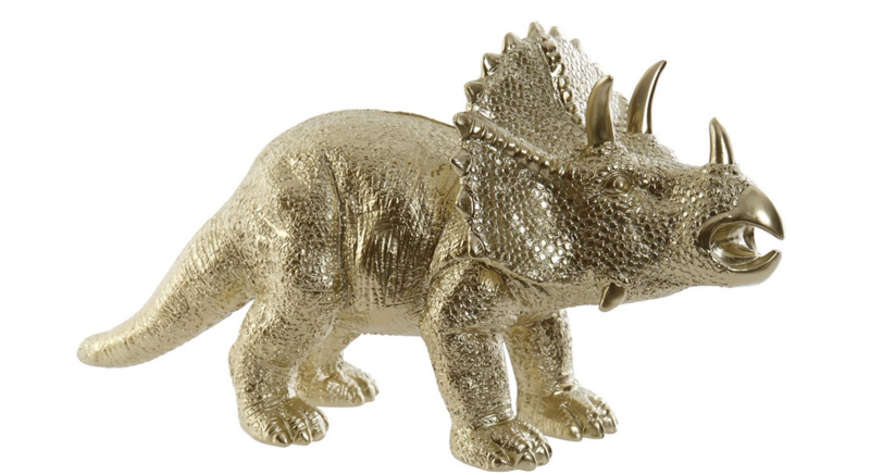 MONEY BOX RESIN 34X14X18 DINOSAUR GOLDEN