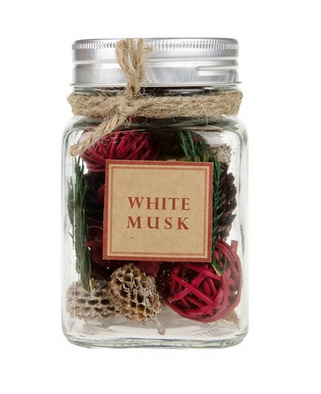 Bottle potpouri white musk 7.5x7.5x11.5cm - Natural