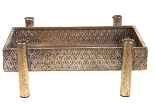Tray with dinner candle holders metal 35x26x14cm - Antique gold