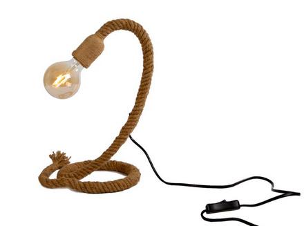 Tafellamp fitting aan touw naturel natuurlijk materiaal 18x18x35cm
