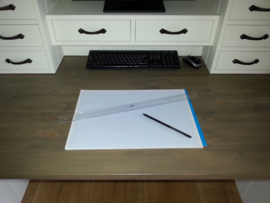 Landelijke witte Secretaire / Bureau / Home-Office met blad in de kleur Taupe 240 cm breed x 200 cm hoog PRIJS OP AANVRAAG