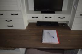 Landelijke Secretaire / Bureau / Home-Office WIT met blad in de kleur Taupe 200 cm breed x 204 cm hoog PRIJS OP AANVRAAG