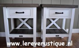 Xpression Rustique nachtkastjes met eiken blad en 1 laatje, 50 cm x 35 cm x 65 cm hoog
