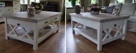 Landelijk witte salontafel met eiken blad, magazineplateau + 2 laatjes, 130 cm l. x 85 cm br. x 55 cm hg.  XR
