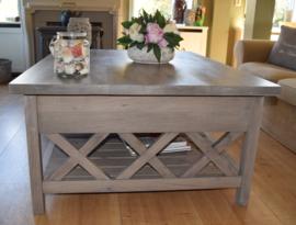 Eiken salontafel in de kleur Ash Grey 130 x 100 x 55 cm XR