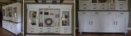 Landelijke witte buffetkast met eiken blad 200 cm br. x 220 cm hg   PRIJS OP AANVRAAG