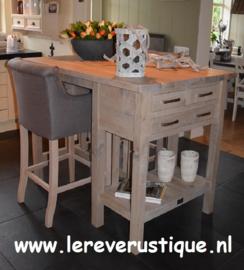 Rustiek eiken bartafel voor 2 barkrukken, 3 laatjes 135 cm l. x 90 cm br. x 104 cm hoog CRS
