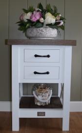 Xpression Rustique bijzettafeltje wit met eiken blad en 2 laden, 50 cm x 40 cm x 70 cm hoog