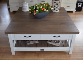Landelijk witte salontafel met eiken blad 120 x 120 x 55 cm XR