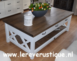 Grote landelijke salontafel wit met eiken blad, magazineplateau + 3 laatjes 160 cm l. x 85 cm br. x 55 cm hg. XR