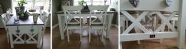 Landelijke eettafel wit met eiken blad 140 cm l. x 90 cm br. XR