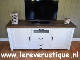 Landelijk wit TV-meubel met eiken blad 170 x 50 x 75 cm hg