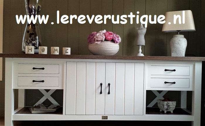 Landelijk wit dressoir / sidetable 210 cm br. x 55 cm d. x 75 cm hg. XR