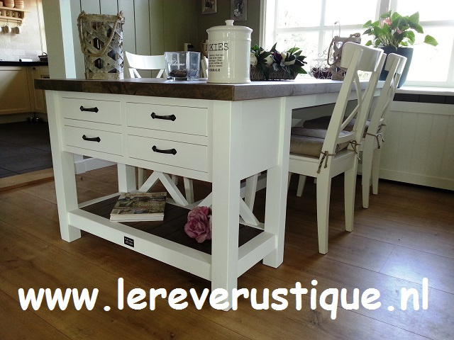 Eiken White Wash Eettafel.Landelijke Eettafels Le Reve Rustique